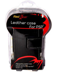 Red Gear Leather Pouch 3000 For PSP, black