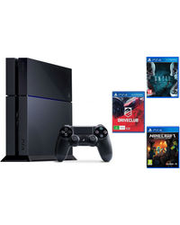 Sony PlayStation 4 With 3 Games Bundle (Drive Club, Minecraft & Until Dawn), black