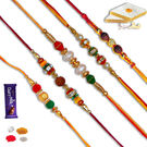Rudraksh With Bead and Pearl 05 pc Family Rakhi Set
