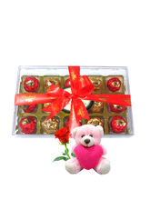 Chocholik Stunning Chocolates Box With Teddy And R...