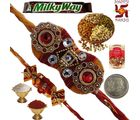Celebrate Rakhi Festival Exclusive Gift to Brother 176, rakhi set with 400g dryfruit and 2 rakhi