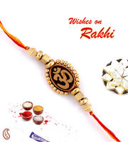 Mauli Thread And Om Rakhi, one rakhi with 200 gms kaju katli