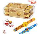 16 pc Ferrero Rocher Chocolate and set of 02 Kids Rakhi Hamper