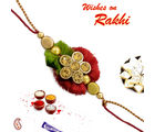 Floral Rakhi with stones and beads, set of two rakhis