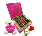 Chocholik Belgium Chocolate Gifts - Admirers Surprise with Rose and Love Teddy