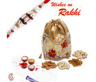 Floral print Leatherite Dry fruit pouch with Rakhi