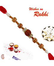 Rudhraksh And Sandalwood Beads Stone Hoops Rakhi, only one rakhi
