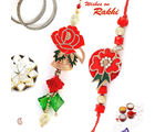 Resham work Rose with American Diamonds Bhaiya Bhabhi Rakhi, one rakhi with 200gm kaju katli