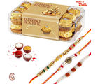 16 pc Ferrero Rocher Chocolate and set of 03 Rakhi Hamper