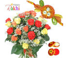 Mix Roses With Rakhi