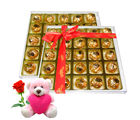 Chocholik Luscious Taste Chocolate Box With Teddy and Rose - Luxury Chocolates