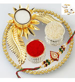 Rakhi With Designer Golden Pooja Thali, only thali
