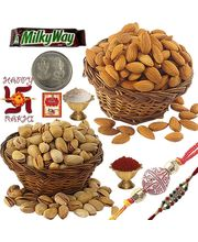 Send Exclusive Rakhi n Almond Pistachio Pack 103, rakhi set with 400g dryfruits and 2 rakhi