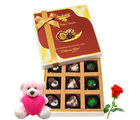 Chocholik Express Your Love Assorted Chocolates With Teddy and Rose - Luxury Chocolates