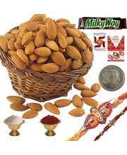 Stylish Mauli Rakhi n Almond Dryfruit Gift Pack 107, rakhi set with 400g badam