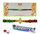 Bounty Wishes for Brother - GAIR1, rakhi with imported chocolate tray