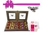 Chocholik 18pc Luxury Chocolate Wooden Box with Lovely Card