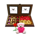 Chocholik Wrapped Chocolates And Truffles With Teddy and Rose - Premium Gifts