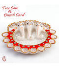 Pure White Marble Three Headed Ganesh Diya Thali