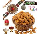 Cute Indian Jewel Rakhi n Fresh Badam Gift Box 222, rakhi set with 200g badam