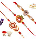 Set of 03 Exclusive Kundan and Zardosi Rakhis, only rakhi