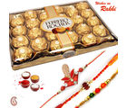 24 pc Ferrero Rocher Chocolate and set of 03 Rakhi Hamper