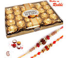 24 pc Ferrero Rocher Chocolate and set of 02 Rakhi Hamper