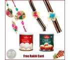 Rakhi Family Set with Haldiram Rasgulla and Gulab Jamun
