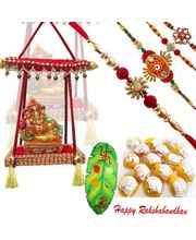 Rakhi Wishes With Ganesha And Motichoor Laddoos