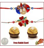 2 Zardosi Rakhi with 2 Piece Ferrero Rocher