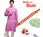Embroidered Pink Linen Kurta and Rakhi Hamper, only hamper