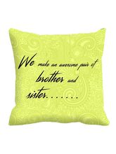 MeSleep Rakhi Quotes Cushion Cover (16x16), Only 1...