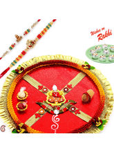 Ganapati Thali Hamper with set of 02 Divine Rakhis, only hamper