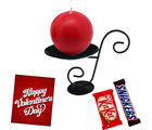 Round Shaped Candle With Attractive Stand and Chocolates