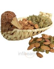 Almonds n Raisins in Duck Cane Basket