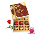 Chocholik Special Love Surprise With Teddy And Rose - Luxury Chocolates