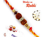 Double Rudraksh American Diamond Mauli Rakhi, only one rakhi