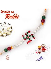 SWASTIK Bracelet Rakhi with Ruby n Emerald beads, one rakhi with 200 gms kaju katli