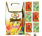Set of 6 Herbal Colour Pouches in a Gift Box with Holi Sweets