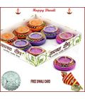 Colorful Matki Diyas - Set Of 9