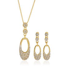 Oleva Ladies Set of 3 Austrian Diamond Pendant Sets in Silver and Golden Finish with White & Red Gemstone Options