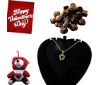 Stunning Heart Shaped Diamond Pendant with Pretty Teddy and Handmade Chocolates