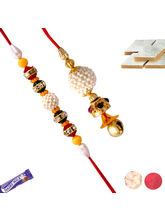 Colorful Stone Rakhi For Bhaiya And Bhabhi, Only R...