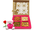 Chocholik Sweet Gift Hamper Of Dry Fruits And Baklava With Teddy and Rose - Premium Gifts