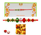 Assorted Dryfruit Chikki with colourfull Beads Rakhi - GAIR35, only rakhi
