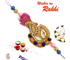 Floral and Keri Design Rakhi with beads, only rakhi