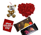 Red Rose Heat Cushion with Teddy And Bournville Chocolate.