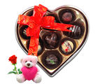 Chocholik Exclusive Chocolates Gift Box With Teddy and Rose - Belgium Chocolates