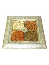 Rapid Ration Square Mettalic Dry Fruit Tray From Chocholik Belgium Gifts