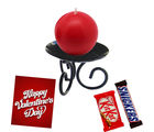 Round Shaped Candle With Designer Stand and Chocolates